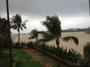 "Minneapolis resident Chi Ngo snapped this photo for Facebook on Saturday morning from the veranda overlooking the Perfume River (Song Huong) and Trang Tien Bridge in Hue, Viet Nam, where she is joining friends and family on a mission trip. They were grounded inside the Century Riverside Hotel for the duration of typhoon HaiYan that was expected to make landfall later that day. ""We are hoping for the best but planning for the worst,"" Ngo said."
