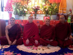 Karen Buddhist Monks from left, U Kay Ma Nan Da, Senior monk; U Uttamalinkara; U Pa Di Ta, novice monk; and Shin Ni Pu Ma. (Photo by Ahmay Ya)