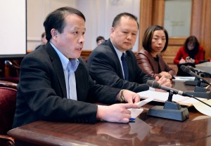 Minn. State Sen. Foung Hawj recently introduced Senate File 262, which would increase the number of voters an individual may assist in marking a ballot, at an Elections Committee hearing. With him is Sia Her, executive director, State Council on Asian Pacific Minnesotans at far right.