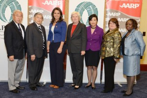 From left: Floyd Mori, Interim President & CEO, Secretary Norman Y. Mineta, Rep. Tulsi Gabbard (D-Hawaii), Nancy LeaMond, EVP, State & National Group, AARP, Rep. Judy Chu (D-CA), Lorraine Cortes-Vazquez, EVP, Multicultural Markets & Engagement, AARP, Joyce Rogers, SVP, Government Affairs, AARP.