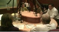 Filipino American leaders discussing community health issues during Radio ASIA 106.1 HD radio show.