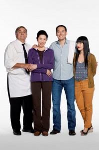 Sullivan and Son cast, from left, Dan Lauria (Jack); Jodi Long (Ok Cha); Steve Byrne (Steve); and Vivian Bang (Susan). (TBS photo)