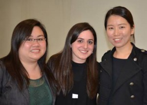 """Touro College of Pharmacy """"Capstone Project"""" winners, from left, Hanh Thai, Michelle Friedman and Christina Choi. (Touro College photo)"""