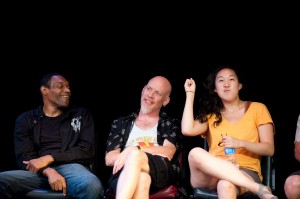 From left, actors Rande Tomas, Joel Rainey, and Naomi Ko in a scene from The Veteran Play Project. (Photo by Bruce Silcox)