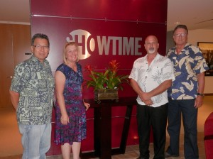 Hawai'i film commissioners, from left, Art Umezu; Walea Constantinau, Honolulu Film Office; Harry Donenfeld, Maui Film Commission and John Mason, Big Island Film Commission, visited Showtime TV at the downtown Los Angeles Convention Center during the AFCI Location Expo.