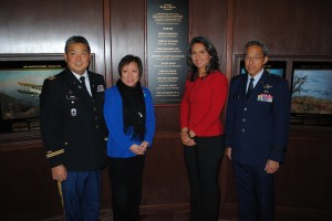The National Guard Association of the United States today honored nine Hawaii Guardsmen and Medal of Honor recipients by unveiling a new plaque in the organization's Medal of Honor Gallery on Jan. 28, 2014. From left, LTC Mark Takai, Congresswoman Colleen Hanabusa (HI-01), Congresswoman Tulsi Gabbard (HI-02), and Maj. Gen. Darryll D.M. Wong. (Gabbard staff photo)
