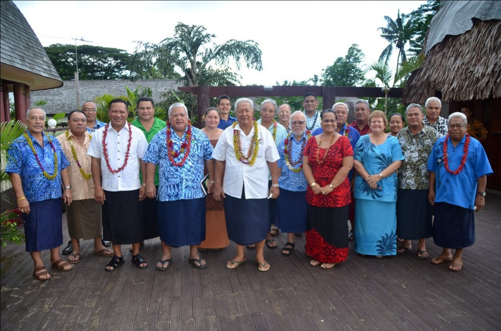 Prime Minister Tuilaepa Sailele Malielegaoi with Cabinet Ministers and members of the Baha'i Faith at the celebration of their 60th Anniversary, 14 January 2014.