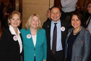 From left to right: Senator Bev Scalze (DFL-Little Canada), Senator Chris Eaton (DFL-Brooklyn Center), Senator Foung Hawj, and Senator Patricia Torres Ray (DFL-Minneapolis).