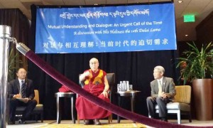 Speaking to a group of Chinese and Tibetan students in Minnesota on Saturday, the Tibetan spiritual leader the Dalai Lama urged the Chinese leaders to think widely while hailing Mao Zedong as a great revolutionary.