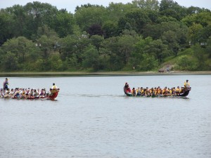Teams compete in the Dragon Boat races on Phalen Lake.