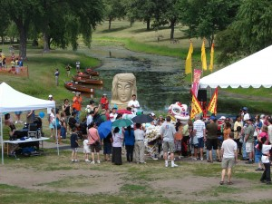 Groups prepare to perform at the Dragon Festival at Lake Phalen. (AAP archive photo)