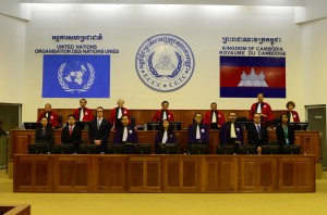 Inside the Extraordinary Chambers in the Courts of Cambodia (ECCC) as guilty verdicts are handed down in the trial of Nuon Chea and Khieu Samphan. (ECCC photo)