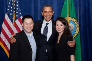 Seattle Small Business Owner Albert Shen, and spouse, nancy, with President Barack Obama.