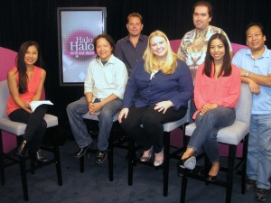 From left, AAPI entertainment and lifestyle television show Halo Halo host Kat Iniba, with Edwin A. Santos, Julia Boyd, Sheila Tejada, Tommy Le, Luke Y. Thompson and Jesse Hlubik on Oct. 28, 2014. The interview was to promote the new web miniseries No Regrets, which begins streaming on Wednesday, Oct. 29, 2014.