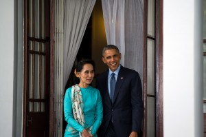 President Barack Obama meets with Chairperson of the National League for Democracy and Member of Parliament Aung San Suu Kyi at her residence in Rangoon, Burma, on November 14, 2014. (U.S. State Department photo by William Ng/ Public Domain)