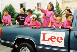 Election of Choua Lee Choua Lee won a seat on the St. Paul School Board in November 1991. Her victory encouraged other Hmong Americans to run for office as a way to better their community. She also helped pave the way for Hmong women to hold office. A decade later, attorney Mee Moua successfully ran for the Minnesota Senate as the DFL-endorsed candidate during a special election in Jan. 2002, making her the first Hmong in the United States to be elected to a state legislature. (Cheu Lee Collection)