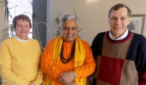 Hindu statesman Rajan Zed, center, with Vicar General Joseph A. daSilva, right, and Chancellor Marcella M. Wilske, left, at the Roman Catholic Diocese of Boise.