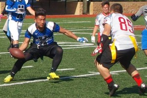 Some of the action in the Hmong flag football tournament.