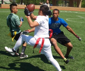 Action during the Hmong flag football tournament.