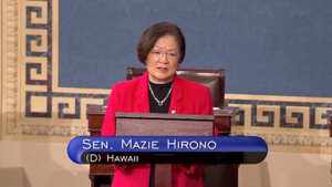 U.S. Sen. Mazie Hirono (D-HI) speaking to the U.S. Senate on Friday.