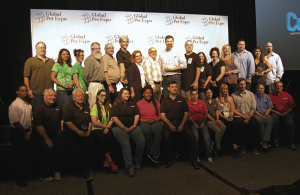Nine staff members represented TailsSpin at the 2016 Global Pet Expo in Orlando, Florida, pictured on the left front row: William Lucas, Jeff Manley, Jusak Yang Bernhard, Rose Casesi, Kristen Watson, Jennie Battle, Tom Kenkel, Aimee Dansky, and Tess Jakubiec. TailsSpin received the 2016 Retailer Excellence Award in Best Overall Multi-Unit Retailer.